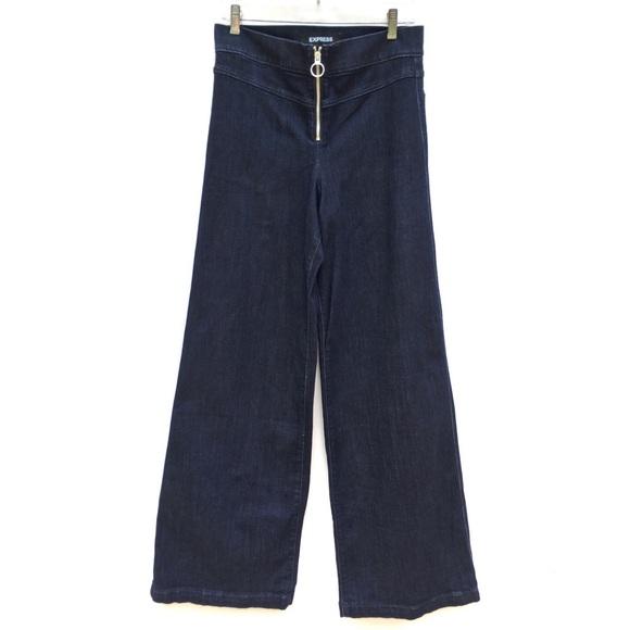 Express Denim - Express Wide Leg Exposed Zipper Jeans 10 LONG